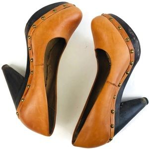 Seychelles Anthro Leather Platform Studded Heels